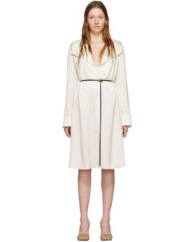 Платье макси с поясом с отложным воротником Bottega Veneta