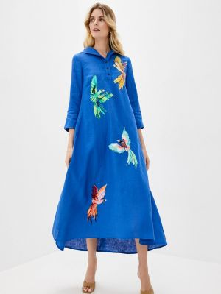 Разноцветное платье - синее Yukostyle