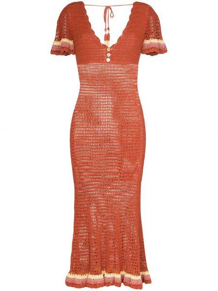 Нейлоновое приталенное платье миди на пуговицах с вырезом She Made Me