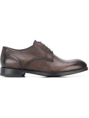 Кожаные коричневые дерби на каблуке на шнуровке Ermenegildo Zegna