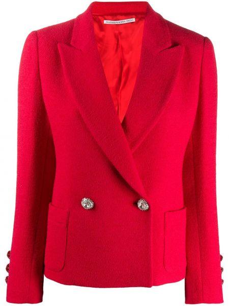 Красный удлиненный пиджак двубортный с карманами Alessandra Rich