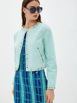 Бирюзовая кожаная куртка Just Cavalli