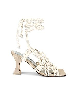 Белые кожаные сандалии на каблуке Miista