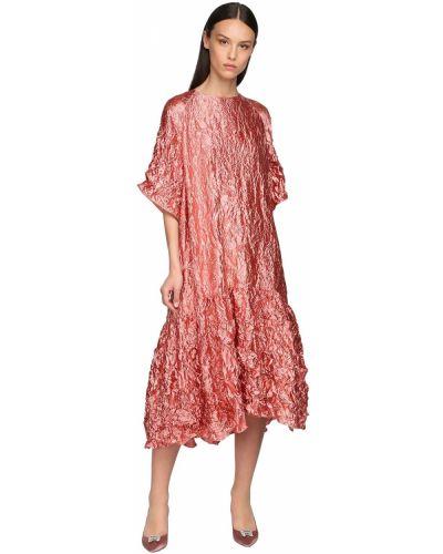 Розовое платье миди с декольте с карманами Rochas