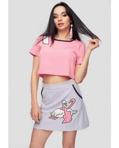 Розовый вязаный юбочный костюм 0101 Brand