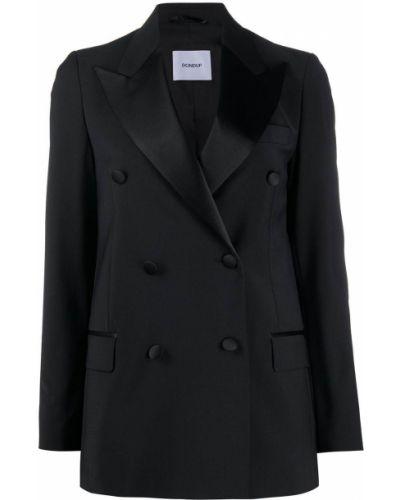 Шерстяной черный прямой пиджак с карманами Dondup