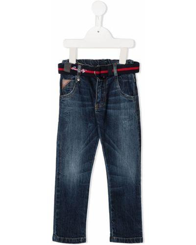 Bawełna niebieski jeansy o prostym kroju z kieszeniami z łatami Lapin House