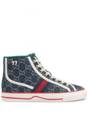 Niebieskie sneakersy skorzane sznurowane Gucci