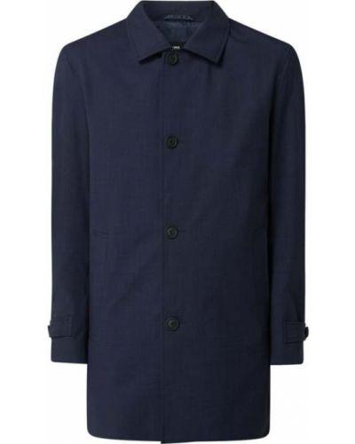 Niebieski płaszcz wełniany Boss