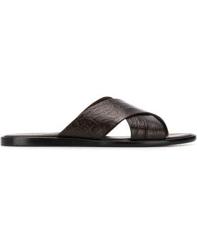 Brązowe sandały skorzane płaska podeszwa Brioni