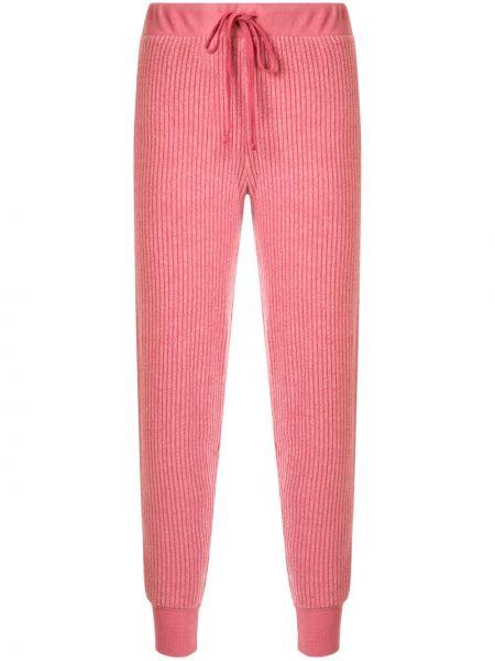 Prążkowane spodnie z wysokim stanem bawełniane Wildfox