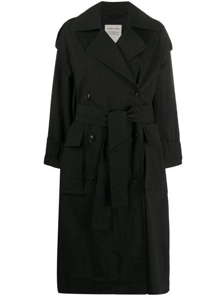 Прямое коралловое длинное пальто с поясом с воротником A Kind Of Guise
