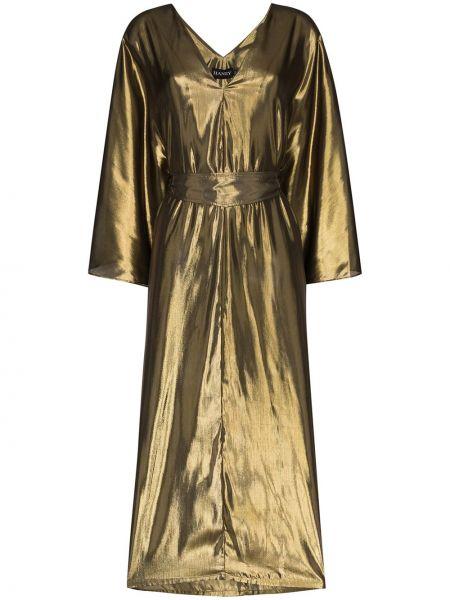 Złota sukienka midi z kapturem z dekoltem w serek Haney