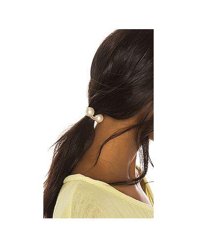 Резинка для волос с жемчугом зеленый Lele Sadoughi