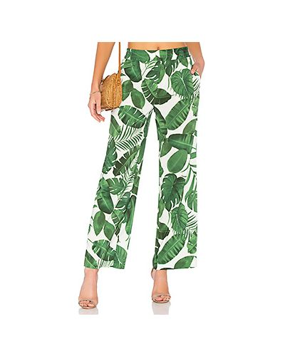 Зеленые брюки на резинке Alice + Olivia