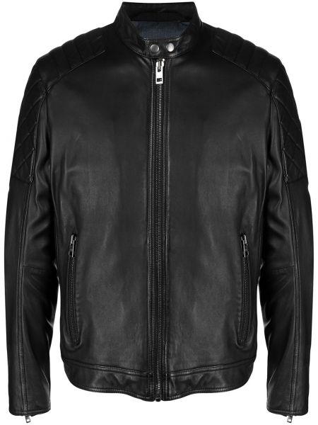 Черная стеганая кожаная куртка Boss Hugo Boss