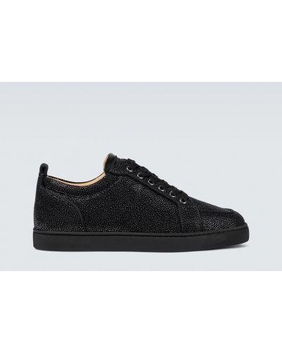 Кожаные черные кроссовки на шнурках Christian Louboutin