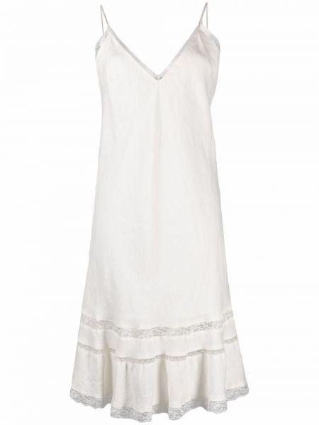 Кружевное белое ажурное платье с вырезом Gold Hawk