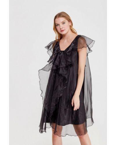 Коктейльное платье осеннее черное Lucky Move