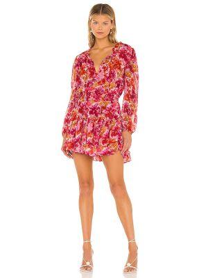Текстильное розовое платье с подкладкой на крючках Misa Los Angeles