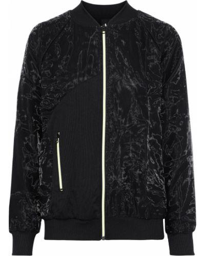 Prążkowana czarna kurtka z nylonu Koral