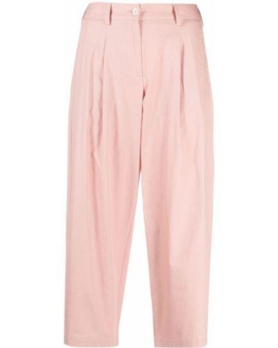 Хлопковые розовые брюки на молнии Jejia