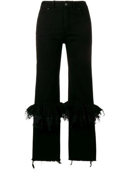 Хлопковые расклешенные черные джинсы Preen By Thornton Bregazzi