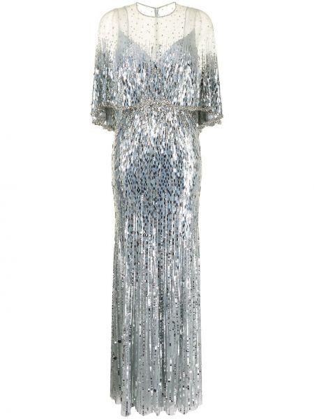 Niebieska sukienka krótki rękaw Jenny Packham