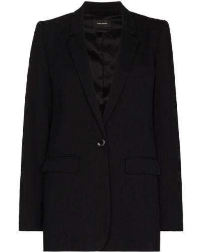 Однобортный черный удлиненный пиджак с карманами Isabel Marant
