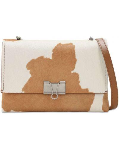 Кожаная белая сумка на цепочке на молнии Off-white