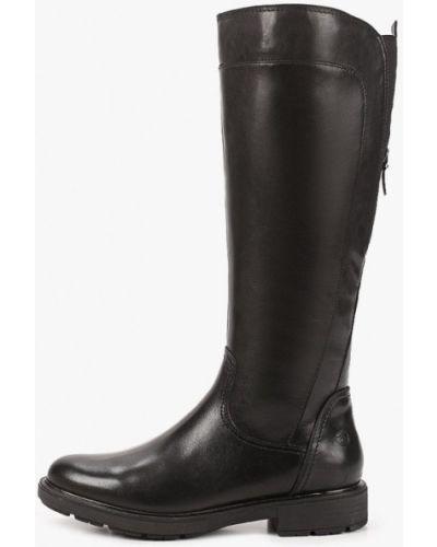 Черные кожаные сапоги Tamaris