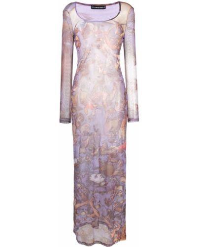 Платье макси с длинными рукавами - фиолетовое Y Project