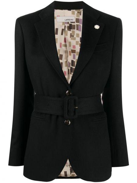 Кашемировый черный удлиненный пиджак для полных Lardini