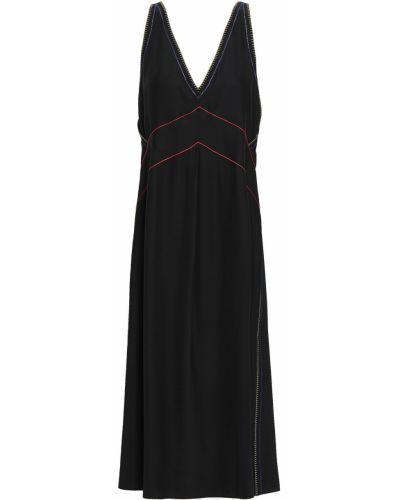 Czarna sukienka midi z jedwabiu z haftem Rag & Bone