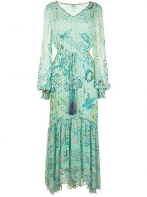Ажурное синее платье макси в цветочный принт Hemant And Nandita