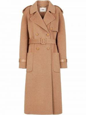 Шерстяное пальто - коричневое Fendi