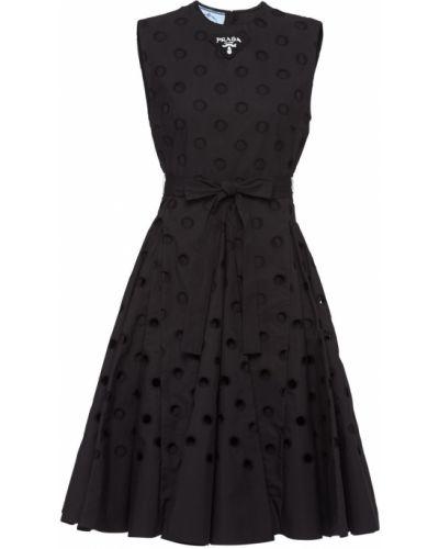Черное платье с перфорацией Prada