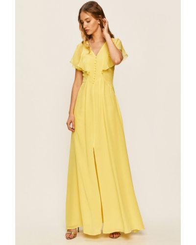 Żółta sukienka koktajlowa rozkloszowana z falbanami Karl Lagerfeld