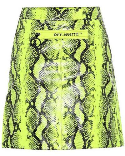 Плиссированная желтая юбка мини из кожи питона Off-white
