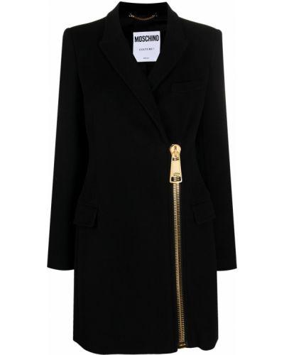 Шерстяное черное пальто классическое на молнии Moschino