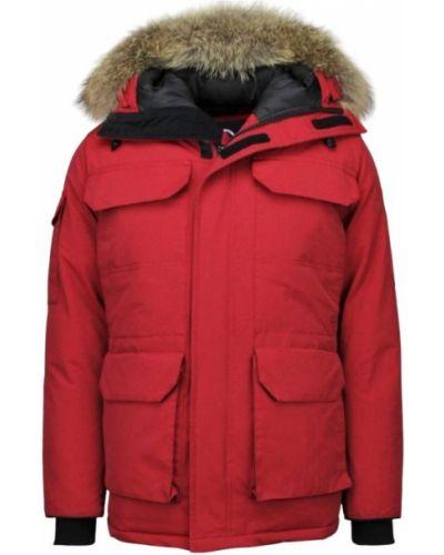 Czerwona kurtka z kapturem na rzepy Beluomo