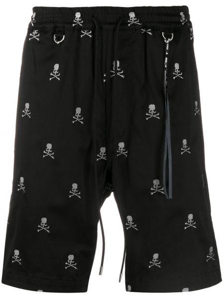 Czarne krótkie szorty z printem bawełniane Mastermind World
