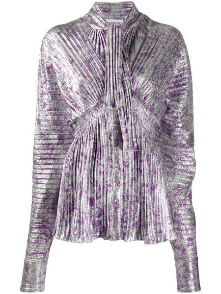 Малиновая с рукавами блузка из вискозы Paco Rabanne