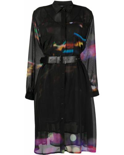 Черное платье миди прозрачное с воротником Diesel
