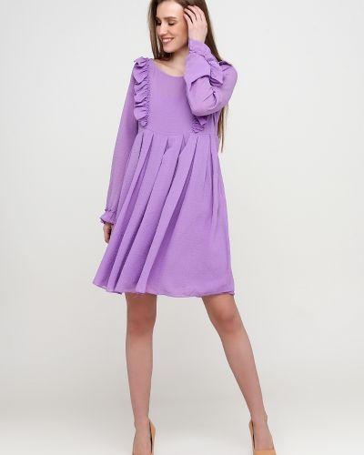 Фиолетовое платье макси с круглым вырезом с подкладкой Naf Naf