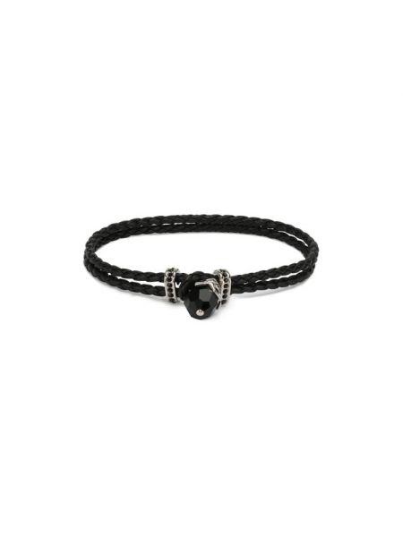 Кожаный черный браслет с черепами Swarovski