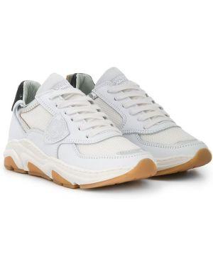 Кожаные белые кроссовки на шнуровке с заплатками Philippe Model Kids