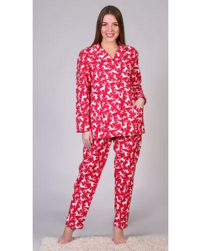 Пижама с брюками фланелевая на пуговицах Грандсток