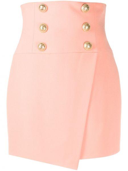 Bawełna różowy asymetryczny spódnica mini zapinane na guziki Balmain