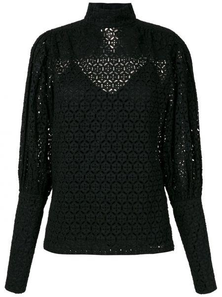 Черная ажурная прямая блузка с воротником Reinaldo Lourenço